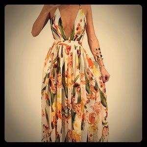 Deep V Neck Maxi Sheer Dress 16W